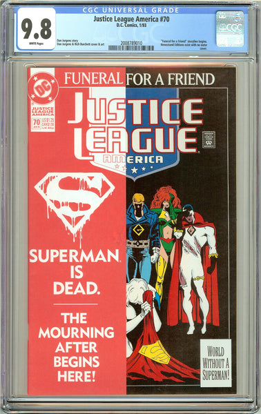 Justice League America #70 CGC 9.8 White Pages ( 1993 ) 2008789010