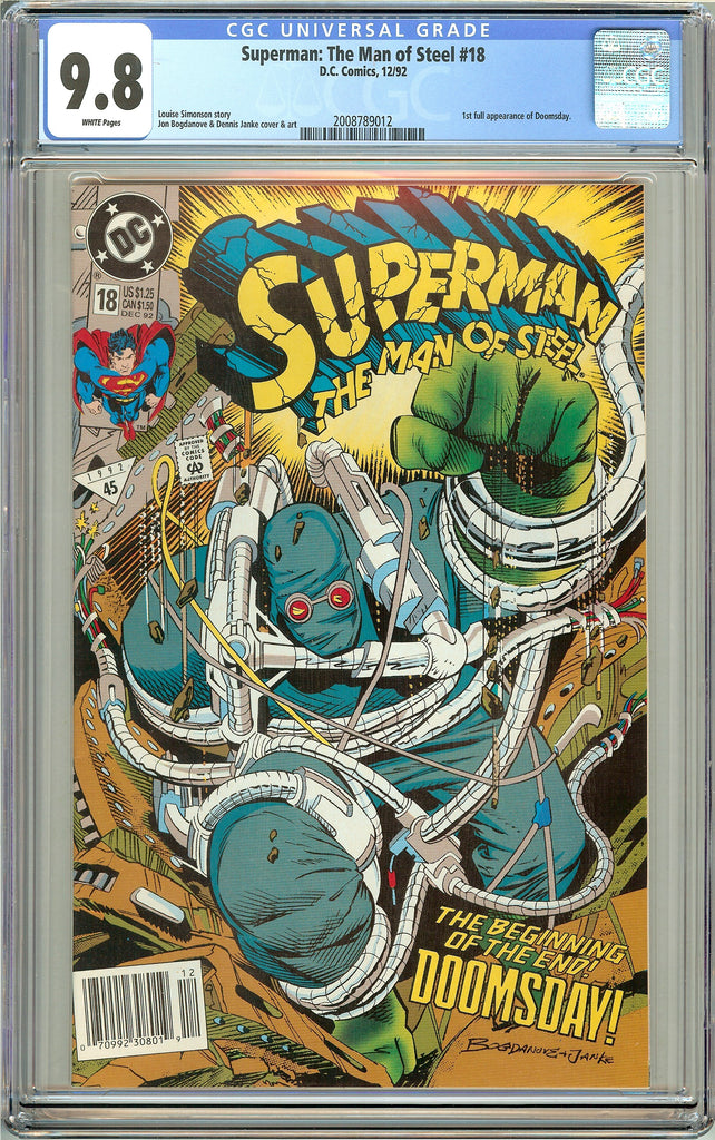 Superman The Man of Steel #18 CGC 9.8 White Pages 2008789012 Doomsday