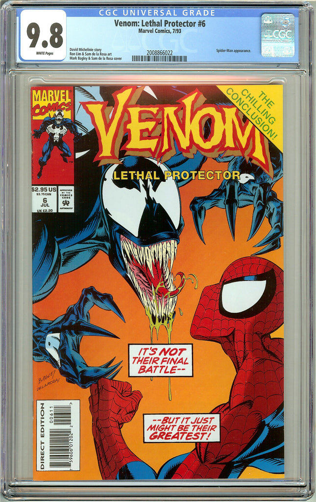 Venom Lethal Protector #6 CGC 9.8 White Pages 2008866022 Marvel Movie