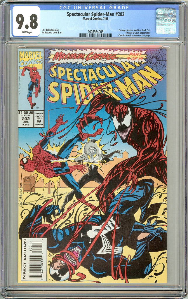 Spectacular Spider-Man #202 CGC 9.8 White Pages (1993) 2008984008