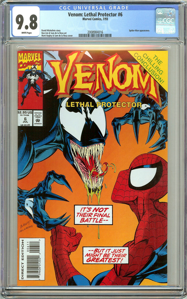 Venom Lethal Protector #6 CGC 9.8 White Pages 2008984016 Marvel Movie