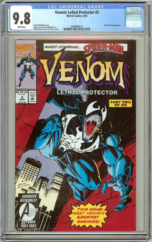 Venom Lethal Protector #2 CGC 9.8 White Pages 2008984017 Marvel Movie