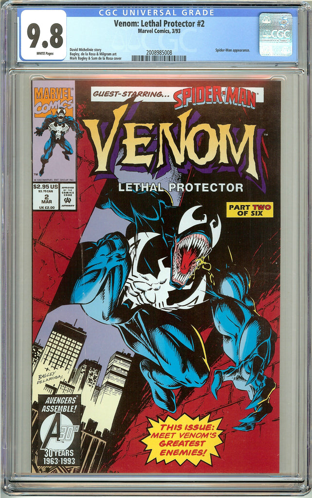 Venom Lethal Protector #2 CGC 9.8 White Pages 2008985008 Marvel Movie