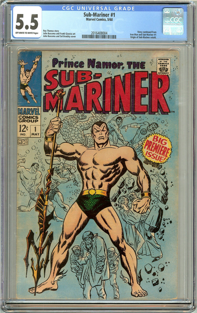 Sub-Mariner #1 (1968) CGC 5.5 OW to White Pages 2016408004