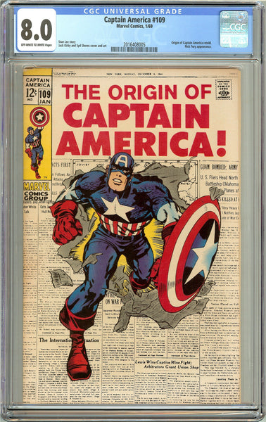 Captain America #109 (1969) CGC 8.0 OW to White Pages 2016408005