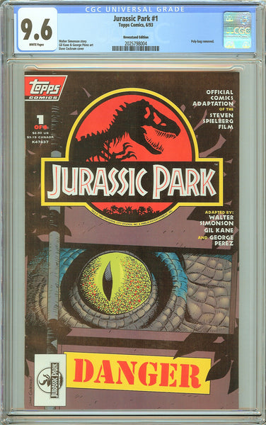 Jurassic Park #1 CGC 9.6 White Pages (1993) 2025798004 Newsstand Edition