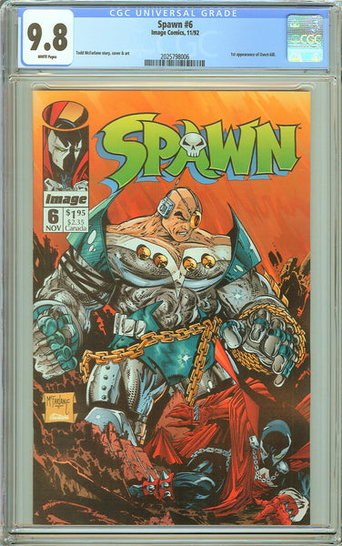 Spawn #6 CGC 9.8 White Pages (1992) 2025798006 1st Overt-kill