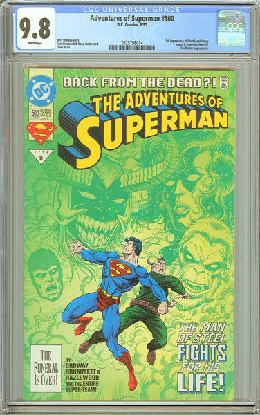 Adventures of Superman #500 CGC 9.8 White Pages 2025798014 1st Steel