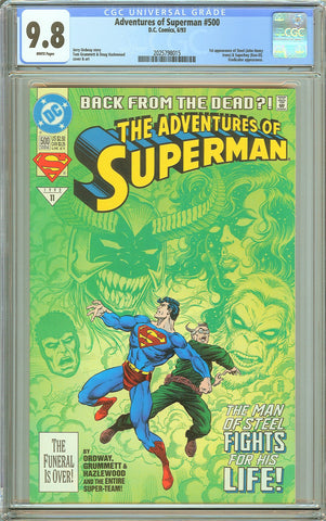 Adventures of Superman #500 CGC 9.8 White Pages 2025798015 1st Steel
