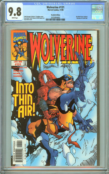 Wolverine #131 CGC 9.8 White Pages (1998) 2025804003 Recalled Edition