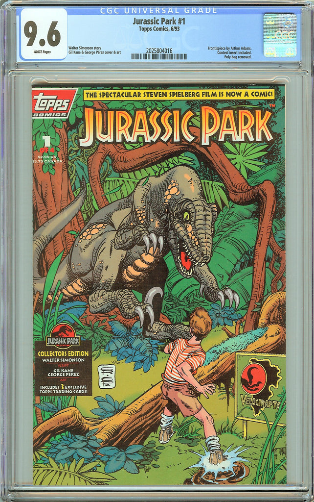 Jurassic Park #1 Topps Comics CGC 9.6 White Pages (1993) 2025804016