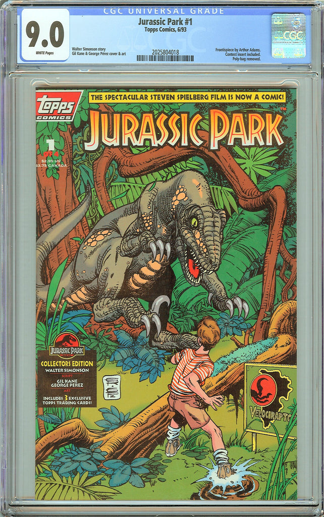 Jurassic Park #1 Topps Comics CGC 9.0 White Pages (1993) 2025804018