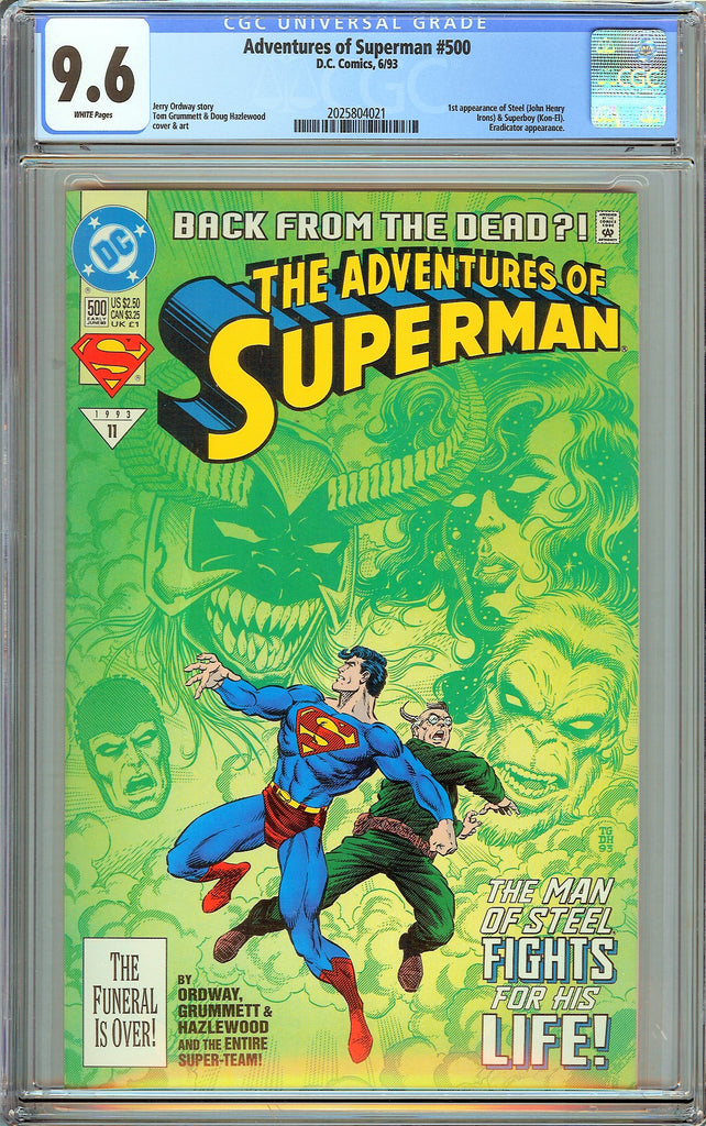 Adventures of Superman #500 CGC 9.6 White Pages 2025804021 1st Steel