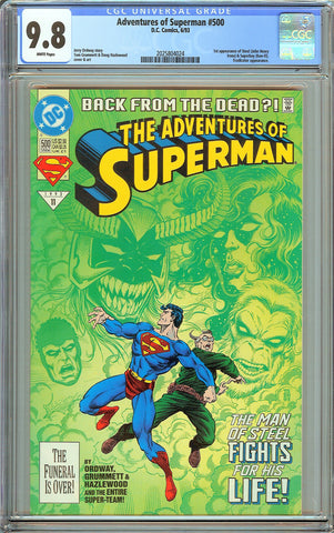 Adventures of Superman #500 CGC 9.8 White Pages 2025804024 1st Steel