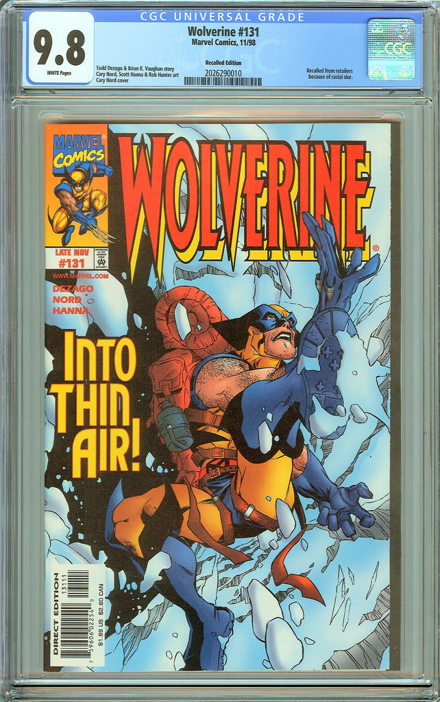 Wolverine #131 CGC 9.8 White Pages (1998) 2026290010 Recalled Edition