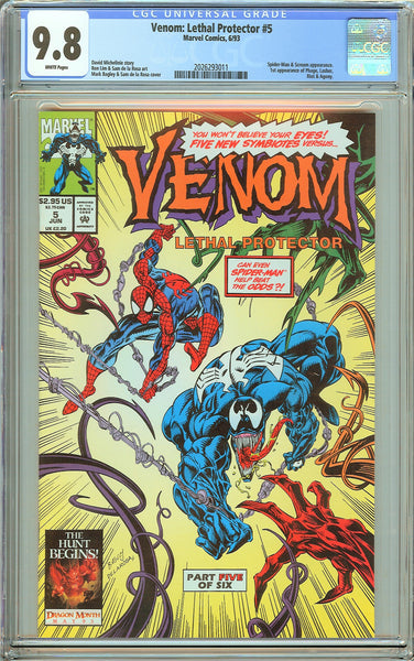 Venom Lethal Protector #5 CGC 9.8 White Pages 2026293011 Marvel Movie
