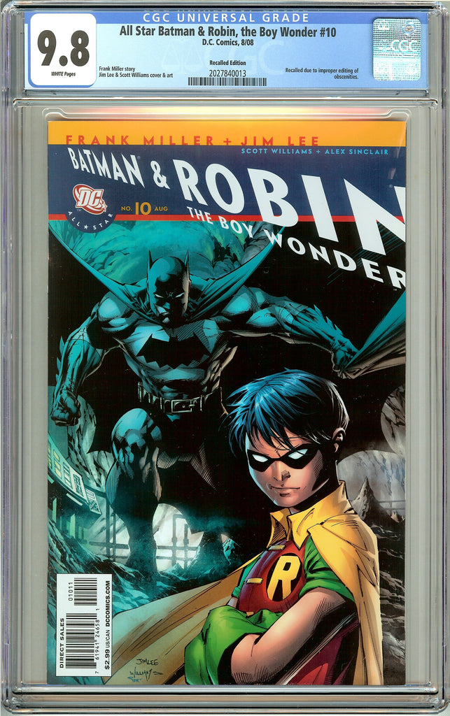 All Star Batman & Robin #10 CGC 9.8 White Pages 2027840013 Recalled