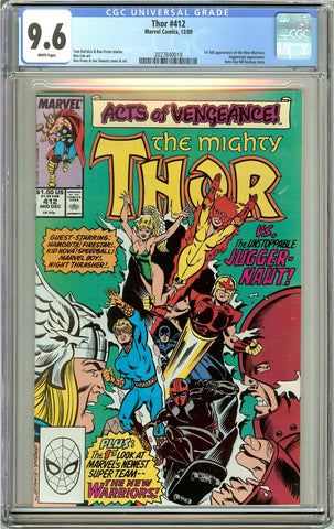 Thor #412 CGC 9.6 White Pages (1989) 2027840019 1st New Warriors