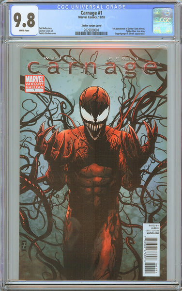 Carnage #1 CGC 9.8 White Pages 2029928001 Zircher Variant Cover