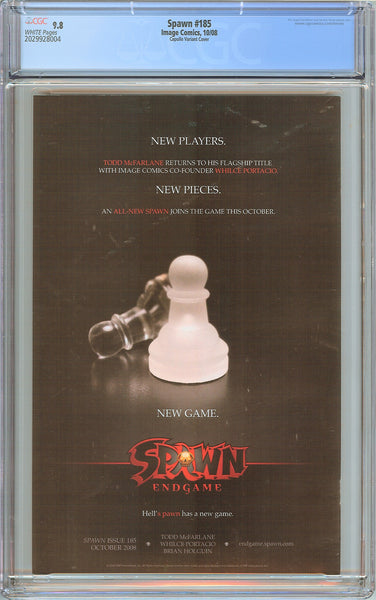 Spawn #185 CGC 9.8 White Pages 2029928004 Capullo Variant Cover