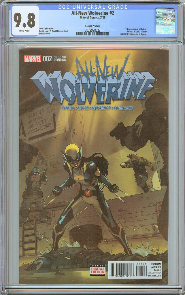All-New Wolverine #2 CGC 9.8 White Pages 2029928023 1st Gabby 2nd Print
