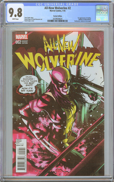 All-New Wolverine #2 CGC 9.8 White Pages 2029928024 1st Gabby Variant