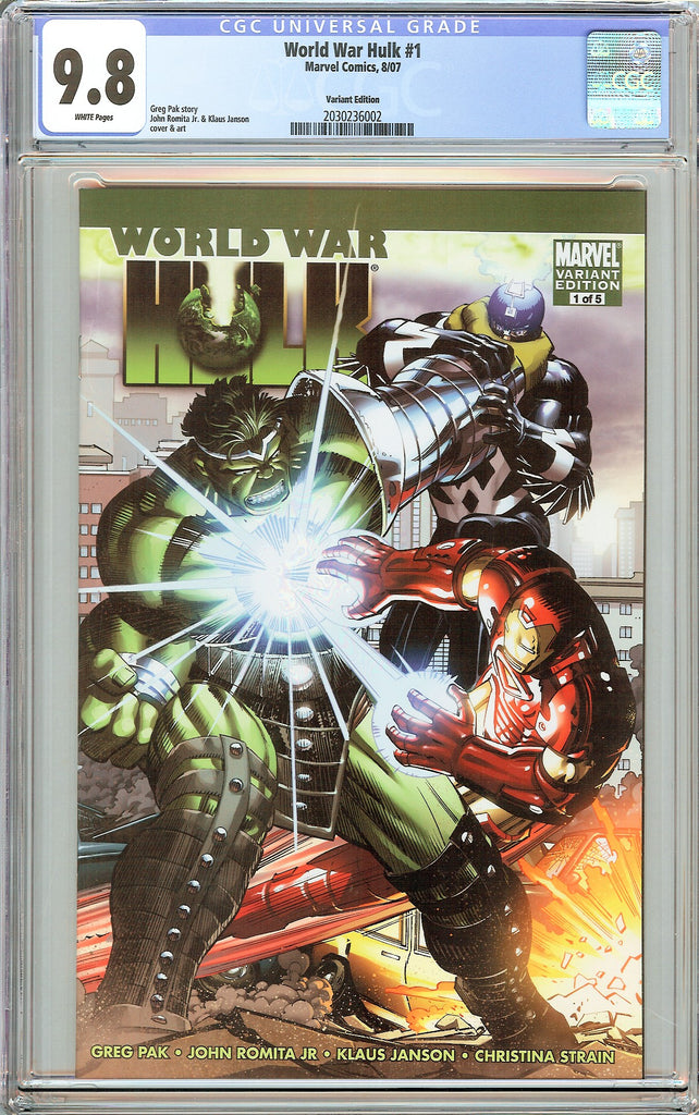 World War Hulk #1 CGC 9.8 White Pages 2030236002 Variant Edition