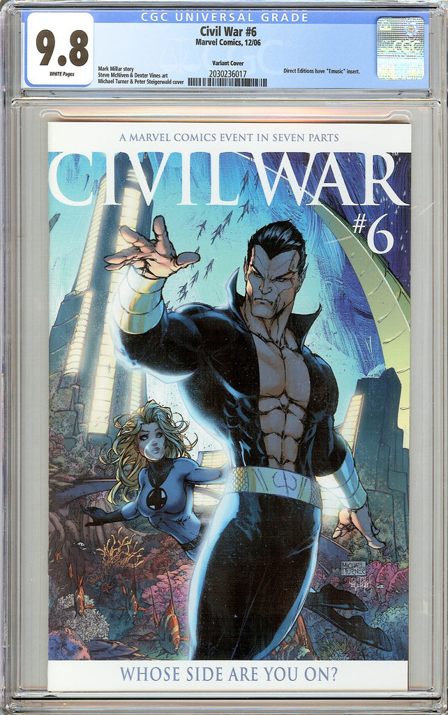 Civil War #6 CGC 9.8 White Pages (2006) 2030236017 Variant Cover
