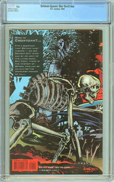 Batman-Spawn: War Devil CGC 9.6 White Pages 1994 2030574021 Wraparound cover.