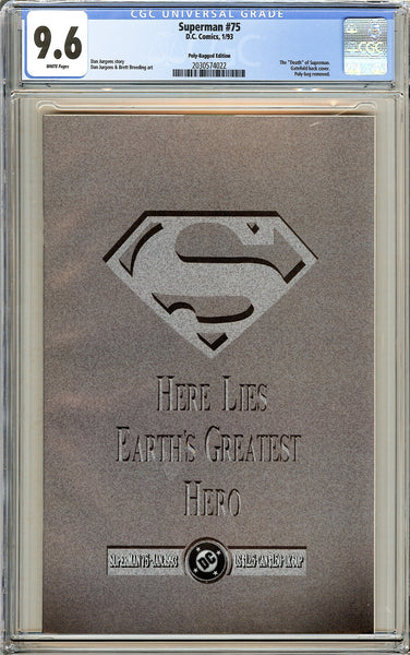 Superman #75 Polly-Bagged Ed. CGC 9.6 White Pages 2030574022 Death of Superman