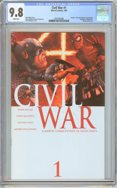 Civil War #1 CGC 9.8 White Pages (2006 Marvel) 2037305005