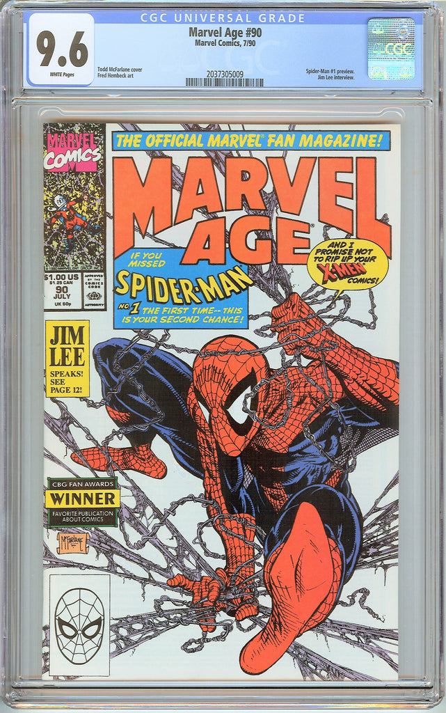 Marvel Age #90 CGC 9.6 White Pages (1990) 2037305009