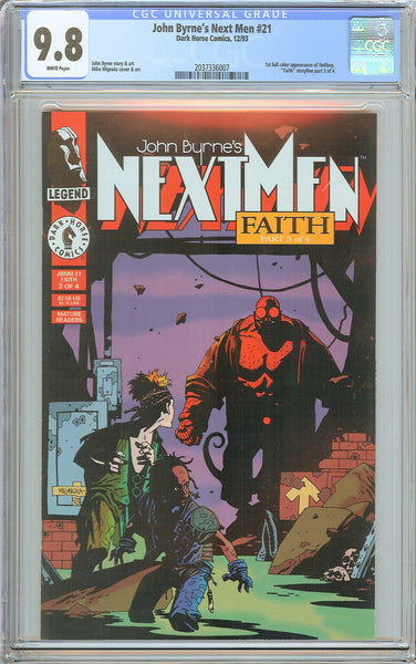 Next Men 21 CGC 9.8 White Pages 2037336007 1st Appearance of Hellboy John Byrne