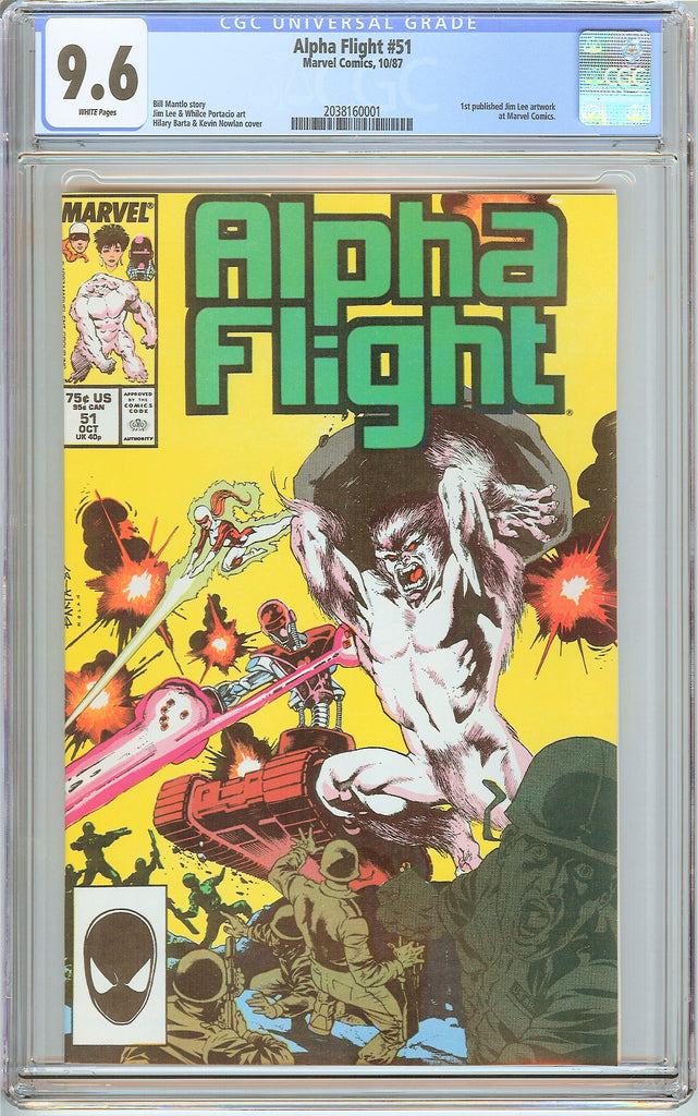 Alpha Flight #51 CGC 9.6 White Pages 2038160001 1st Jim Lee art at Marvel Comics