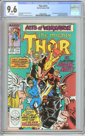 Thor #412 CGC 9.6 White Pages (1989) 2038160003 1st New Warriors