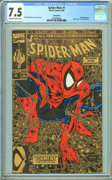 Spider-Man #1 CGC 7.5 OW to White Pages 2039484002 Gold Edition 1990