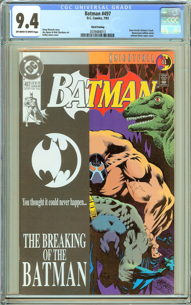 Batman # 497 CGC 9.4 OW to White Pages (1993) 2039484013 Rare Third Printing