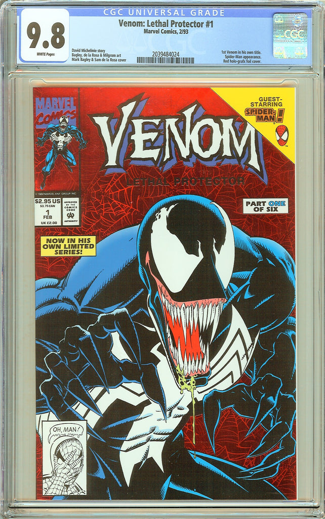 Venom Lethal Protector #1 CGC 9.8 White Pages 2039484024 Marvel Movie