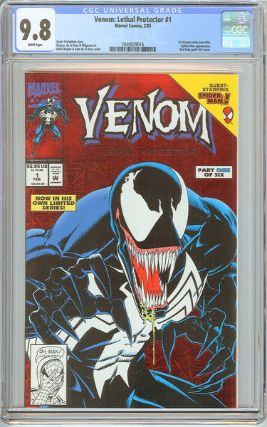 Venom Lethal Protector #1 CGC 9.8 White Pages 2040829016 Marvel Movie