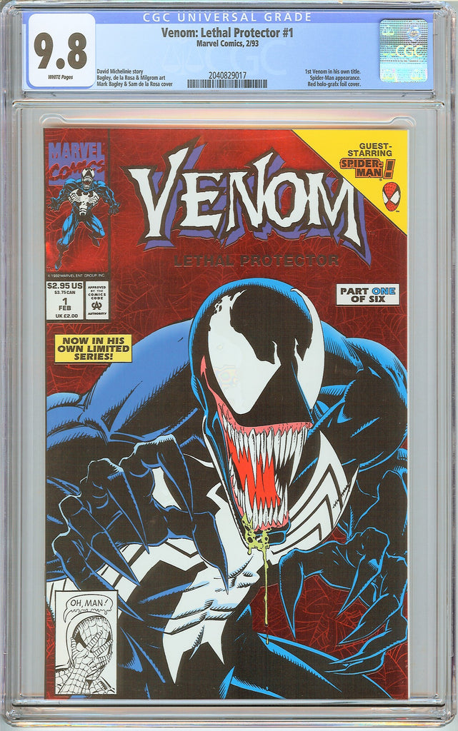 Venom Lethal Protector #1 CGC 9.8 White Pages 2040829017 Marvel Movie