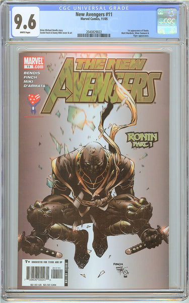 New Avengers #11 CGC 9.6 White Pages (2005) 2040829022 1st Ronin