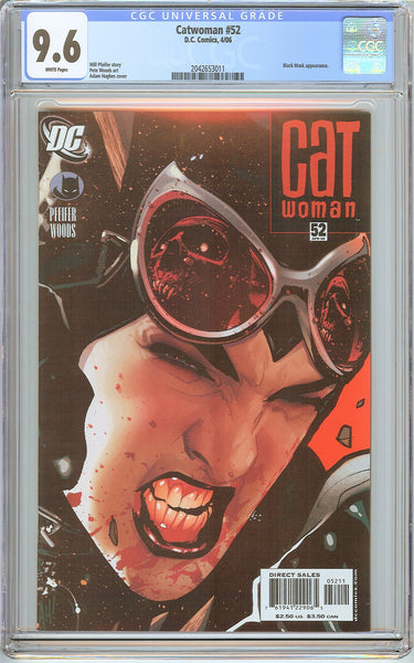Catwoman #52 CGC 9.6 White Pages 2042653011 Adam Hughes Cover