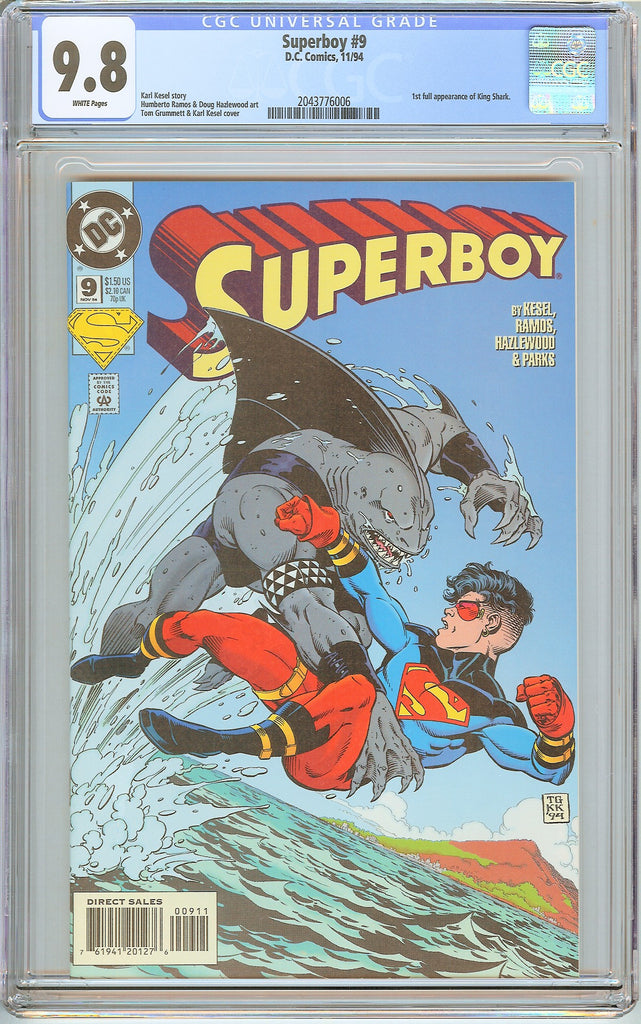 Superboy #9 CGC 9.8 White Pages (1994) 2043776006 1st King Shark