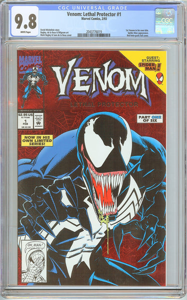 Venom Lethal Protector #1 CGC 9.8 White Pages 2043776019 Marvel Movie