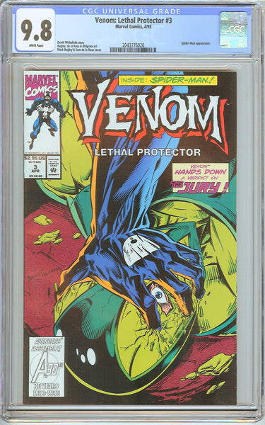 Venom Lethal Protector #3 CGC 9.8 White Pages 2043776020 Marvel Movie