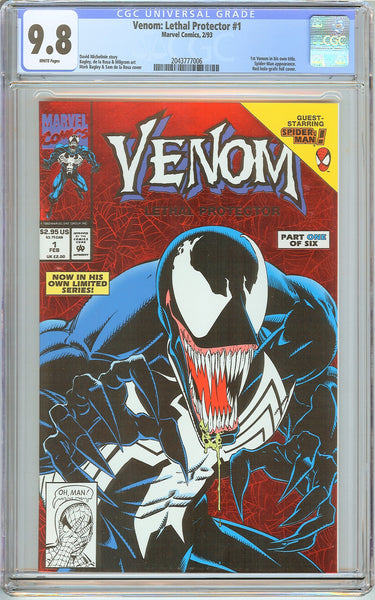 Venom Lethal Protector #1 CGC 9.8 White Pages 2043777006 Marvel Movie