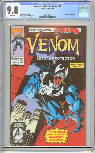 Venom Lethal Protector #2 CGC 9.8 White Pages 2043777007 Marvel Movie