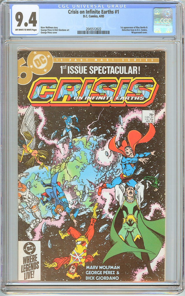 Crisis on Infinite Earths #1 CGC 9.4 OW to White Pages (1985) 2045512022