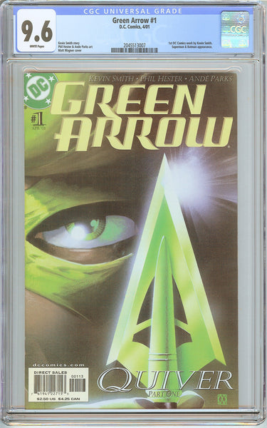 Green Arrow #1 CGC 9.6 White Pages (2001) 2045513007 1st DC Kevin Smith