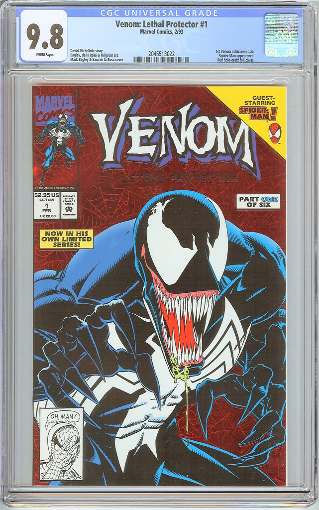 Venom Lethal Protector #1 CGC 9.8 White Pages 2045513022 Marvel Movie